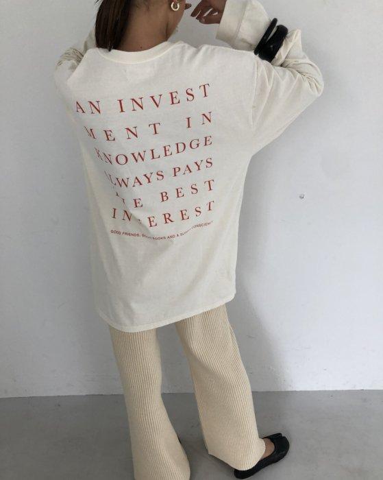 TODAYFUL トゥデイフル Backprint Long T-Shirts 11920607 【19AW1】【先行予約】【クレジット限定 納期8月〜9月頃予定】