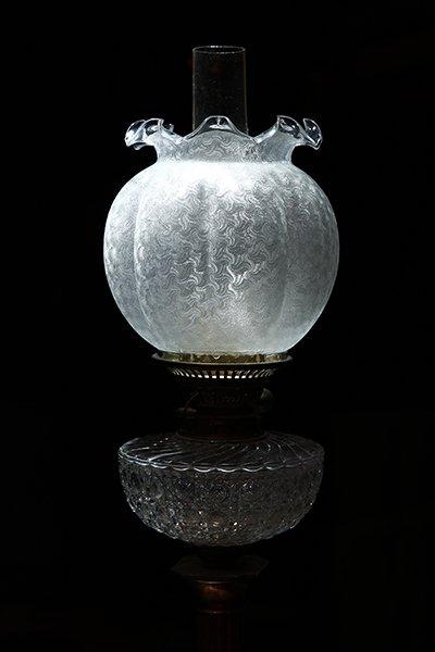 1880年代 バカラ社 腐食ガラスのオイルランプ tl-19