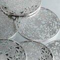 純銀オーバーレイ&ガラスのコースター 6枚セット Webster 19世紀末 バーテンダー アメリカ アンティーク