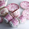 コープランド・スポード デミタスポット カップ&ソーサー3客 セット 紅茶 珈琲 チャイ Copeland Spode フルーテッド・ウィロー・レッド 1880年代 英国アンティーク csp2068