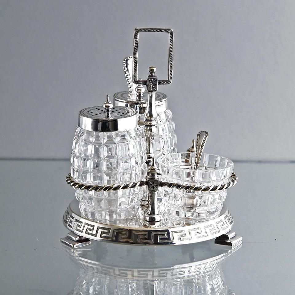 19世紀末 卓上調味料入れ 純銀&クリスタルガラス3点セット 英国バーミンガム地方