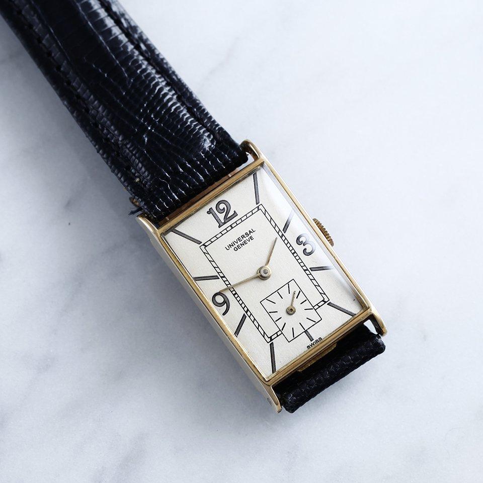 1930年 ユニバーサル・ジュネーブ アールデコ期 腕時計 18金無垢