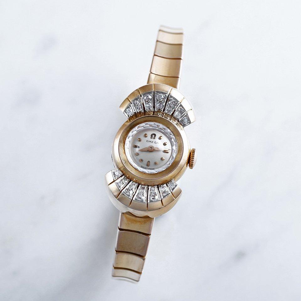 1957年製 オメガ 婦人用カクテルウォッチ ダイヤモンド&18K金無垢イエローゴールド wl-14