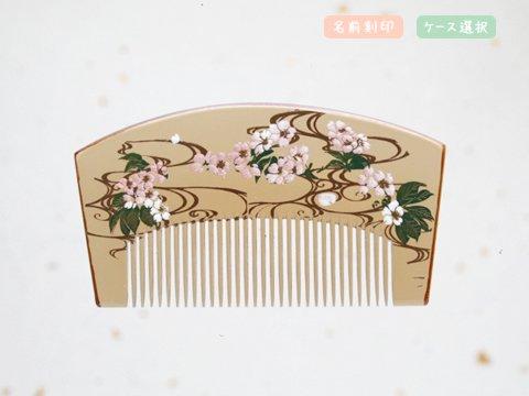 桜蒔絵 扇形 水面(白)
