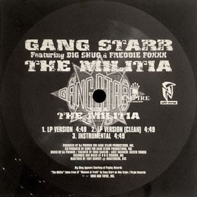 <img class='new_mark_img1' src='https://img.shop-pro.jp/img/new/icons3.gif' style='border:none;display:inline;margin:0px;padding:0px;width:auto;' />GANG STARR - THE MILITIA / YOU KNOW MY STEEZ REMIX (12) (VG+)