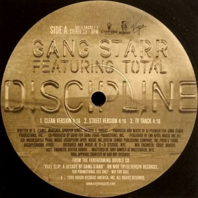 <img class='new_mark_img1' src='https://img.shop-pro.jp/img/new/icons3.gif' style='border:none;display:inline;margin:0px;padding:0px;width:auto;' />GANG STARR - DISCIPLINE / JUST TO GET A REP (12) (PROMO) (VG+/VG+)
