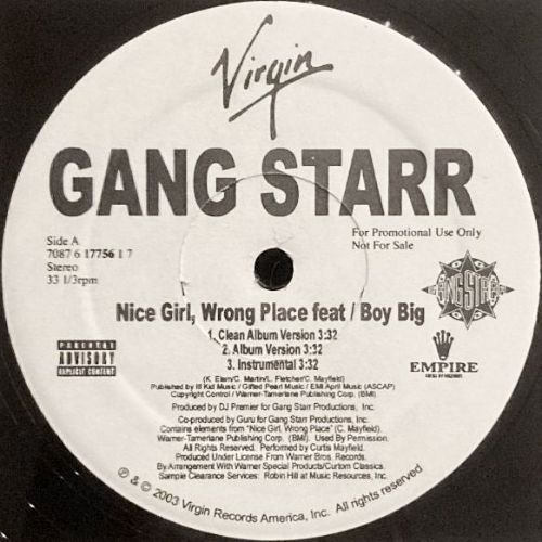 <img class='new_mark_img1' src='https://img.shop-pro.jp/img/new/icons3.gif' style='border:none;display:inline;margin:0px;padding:0px;width:auto;' />GANG STARR - NICE GIRL, WRONG PLACE (12) (PROMO) (EX/VG+)