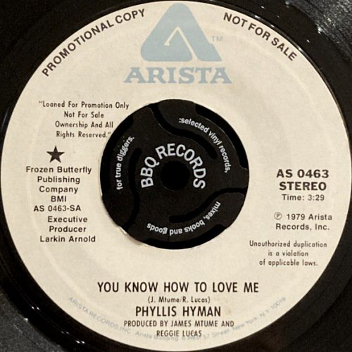 <img class='new_mark_img1' src='https://img.shop-pro.jp/img/new/icons3.gif' style='border:none;display:inline;margin:0px;padding:0px;width:auto;' />PHYLLIS HYMAN - YOU KNOW HOW TO LOVE ME (7) (PROMO) (VG+)