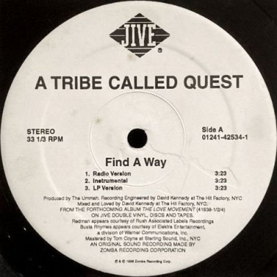 <img class='new_mark_img1' src='https://img.shop-pro.jp/img/new/icons3.gif' style='border:none;display:inline;margin:0px;padding:0px;width:auto;' />A TRIBE CALLED QUEST - FIND A WAY (12) (VG+)