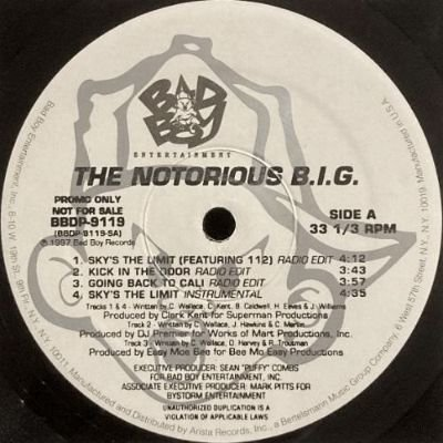 NOTORIOUS B.I.G. - SKY'S THE LIMIT / KICK IN THE DOOR / GOING BACK TO CALI (12) (PROMO) (VG+/VG+)