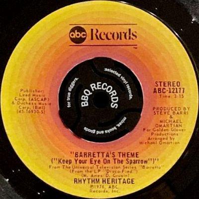 RHYTHM HERITAGE - BARRETTA'S THEME (KEEP YOUR EYE ON THE SPARROW) / MY CHERIE AMOUR (7) (VG)