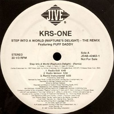 <img class='new_mark_img1' src='https://img.shop-pro.jp/img/new/icons3.gif' style='border:none;display:inline;margin:0px;padding:0px;width:auto;' />KRS ONE - STEP INTO A WORLD (RAPTURE'S DELIGHT) (12) (PROMO) (VG+/VG+)