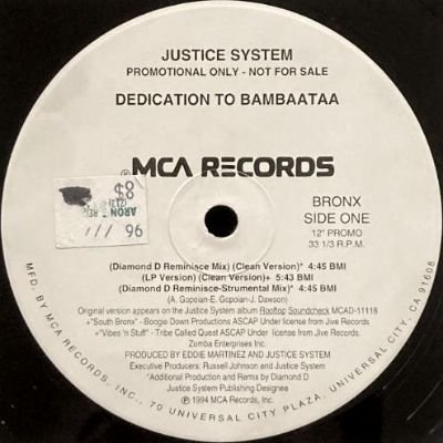 <img class='new_mark_img1' src='https://img.shop-pro.jp/img/new/icons3.gif' style='border:none;display:inline;margin:0px;padding:0px;width:auto;' />JUSTICE SYSTEM - DEDICATION TO BAMBAATAA (12) (PROMO) (VG+/VG+)