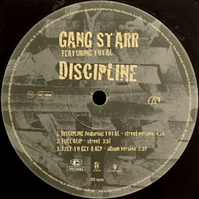 <img class='new_mark_img1' src='https://img.shop-pro.jp/img/new/icons3.gif' style='border:none;display:inline;margin:0px;padding:0px;width:auto;' />GANG STARR feat. TOTAL - DISCIPLINE (12) (UK) (VG+)