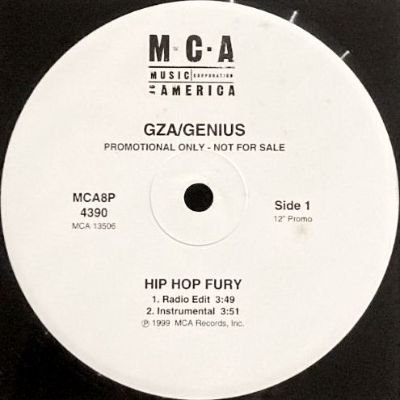 <img class='new_mark_img1' src='https://img.shop-pro.jp/img/new/icons3.gif' style='border:none;display:inline;margin:0px;padding:0px;width:auto;' />GZA / GENIUS - HIP HOP FURY (12) (PROMO) (VG+)
