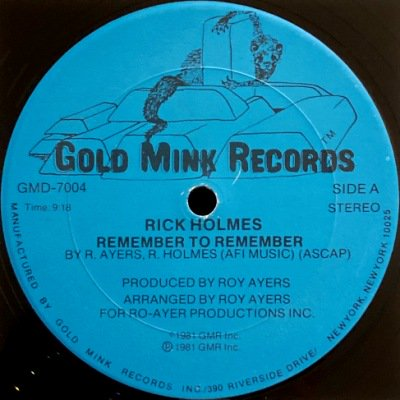 <img class='new_mark_img1' src='https://img.shop-pro.jp/img/new/icons3.gif' style='border:none;display:inline;margin:0px;padding:0px;width:auto;' />RICK HOLMES - REMEMBER TO REMEMBER (12) (VG+)
