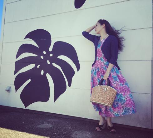 クラシカルなハワイアンワンピース  水色とピンクのぼかし模様L/LL
