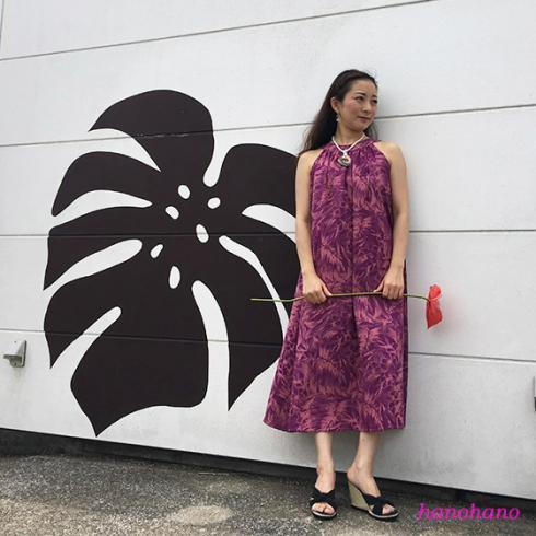 Aラインの美しいゆったりとしたドレス パープル