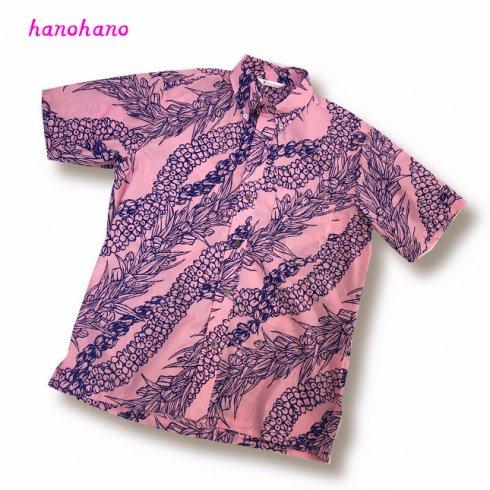 メンズアロハシャツ ボタンダウン ピンク レイ柄