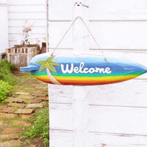 ハワイアンインテリア サーフウッドボード パームツリー WELCOME!