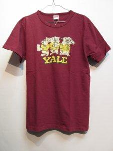 FREE RAGE YALE ブルドック リサイクルコットン Tシャツ Lサイズ ワインレッド