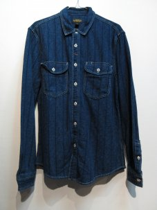 CPO Jaspe Workers Stripe Button-Down Shirt Sサイズ インディゴ