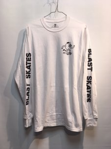 BLAST SKATES STENCIL LONG SLEEVE WHITE