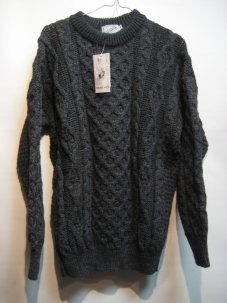 Kelly Woollen Mills ARAN CREW NECK SWEATER Sサイズ チャコール