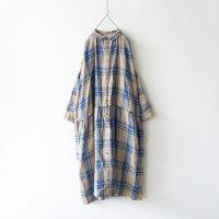 ichiAntiquites リネンタータンチェックドレス (ベージュ×ネイビー)