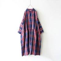 ichiAntiquites リネンタータンチェックドレス(ネイビー×レッド)