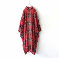 ichiAntiquites ウールタータンシャツワンピース / RED