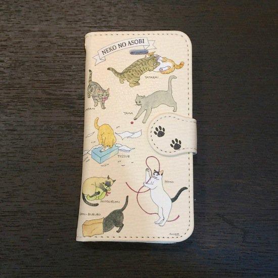 イラストレーター・梶原美穂×王冠印雑貨店コラボiPhoneSE,5sケース<猫の遊び>※受注生産