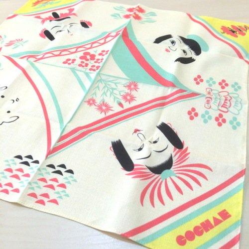 COCHAE 包み絵風呂敷 こけし 48cm