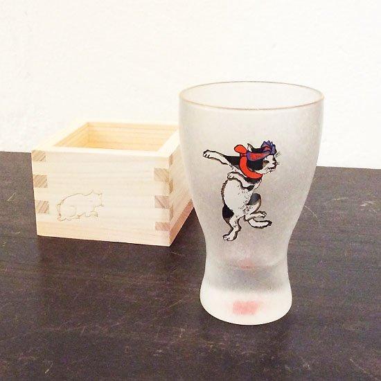 歌川国芳 江戸猫グラス 枡酒グラス(踊りはちまき猫)