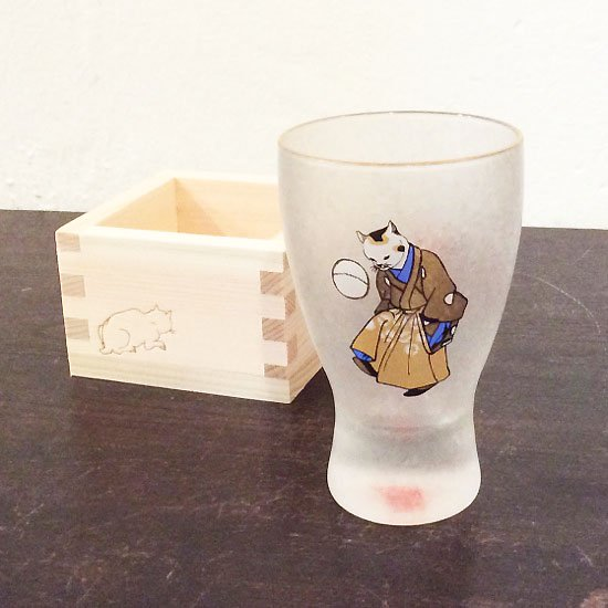 歌川国芳 江戸猫グラス 枡酒グラス(手まり猫)