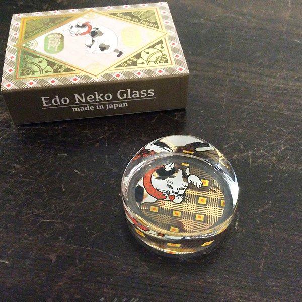 歌川国芳 江戸猫ガラス 箸置き(招き猫)