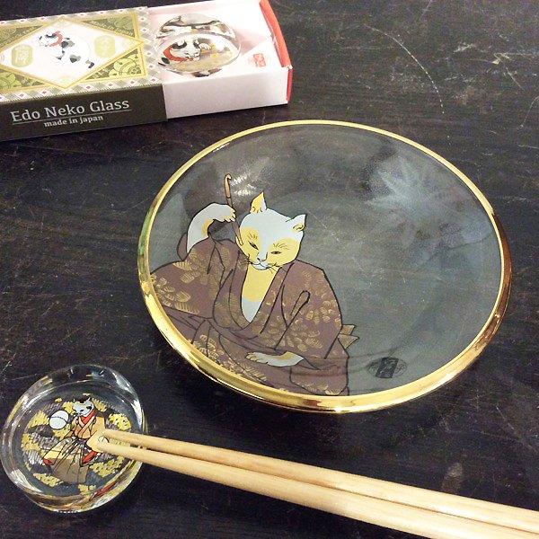歌川国芳 江戸猫グラス ガラス丸皿(煙管猫)