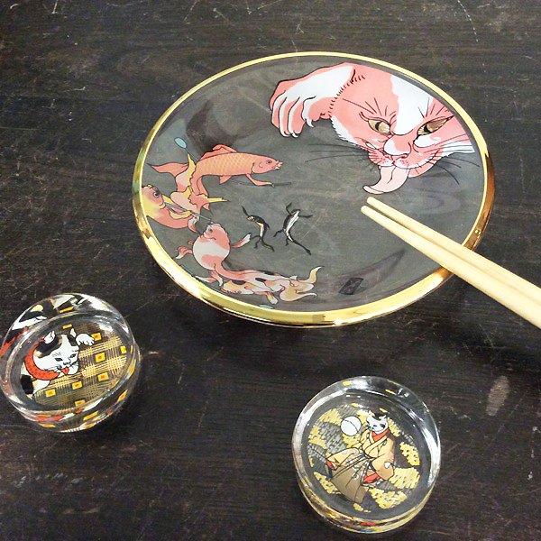 歌川国芳 江戸猫グラス ガラス丸皿(金魚と猫)