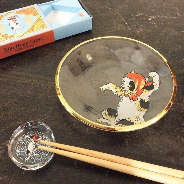 歌川国芳 江戸猫グラス ガラス丸皿(ほっかむり猫)