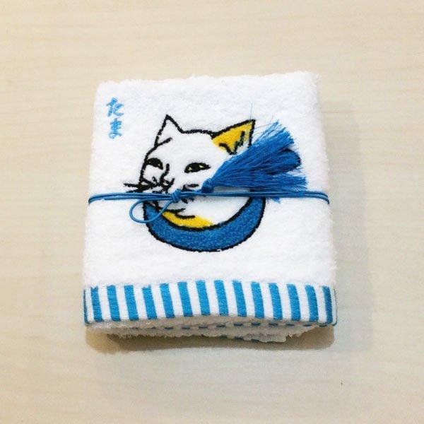 歌川国芳 猫刺繍ハンドタオル(たま・青)