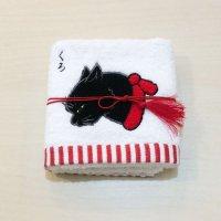 歌川国芳 猫刺繍ハンドタオル(くろ・赤)