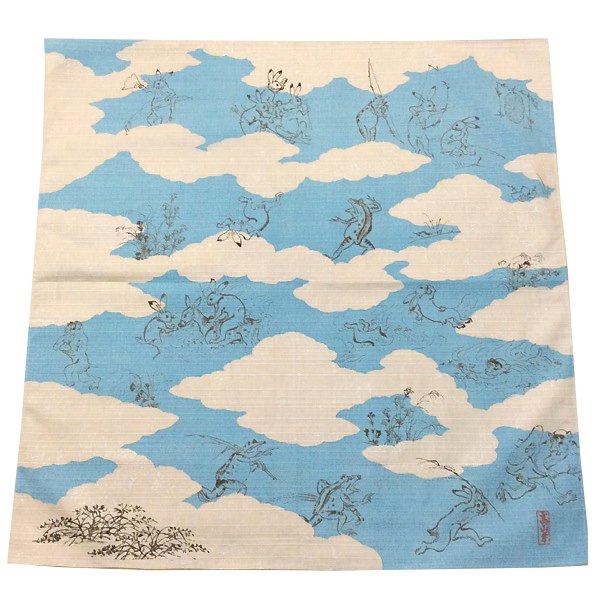 鳥獣戯画 ミニ風呂敷(水色)