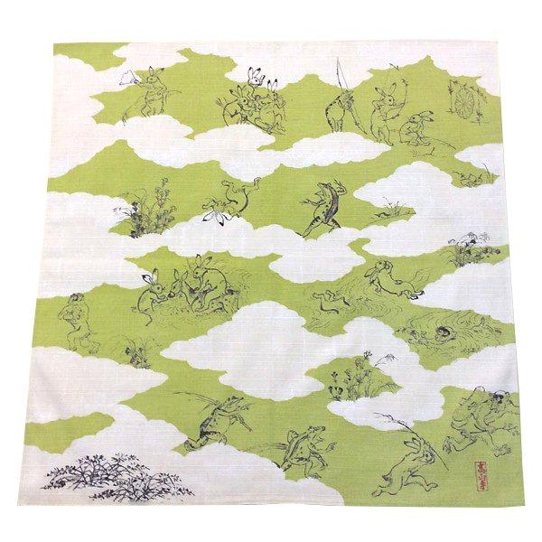 鳥獣戯画 ミニ風呂敷(黄緑色)