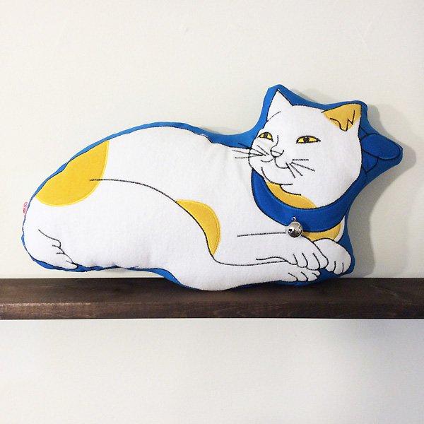 歌川国芳 猫刺繍ぬいぐるみクッション(たま・青)
