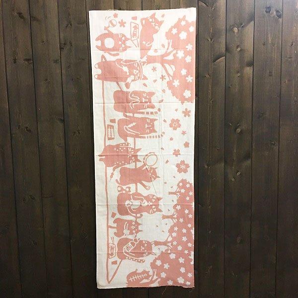 注染手ぬぐい・桜ネコ(桃色×白)