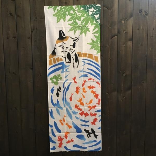 注染手ぬぐい・猫と金魚