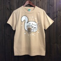 【悪意1000%】Tシャツ 猫とタピオカ(ミルクティー)