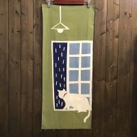 【長縄キヌエ】猫と雨 注染てぬぐい