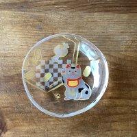 ガラス豆皿 招き猫