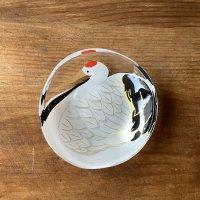 ガラス豆皿 鶴